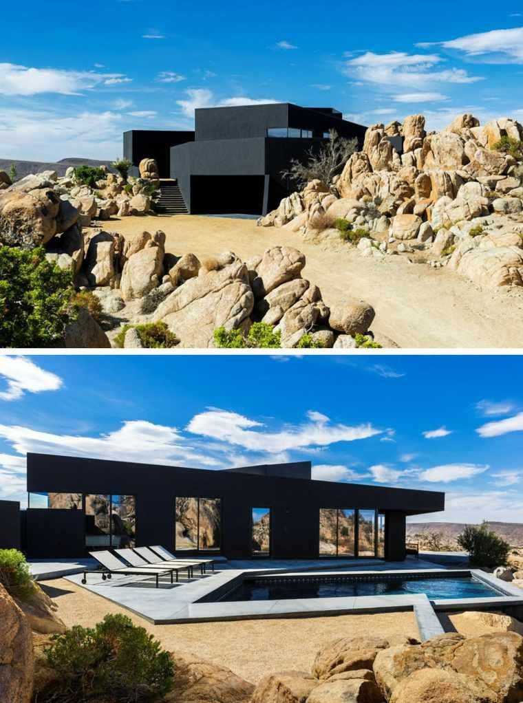 Ejemplos de casas modernas con fachadas de color negro - Revestimientos de fachadas modernas ...