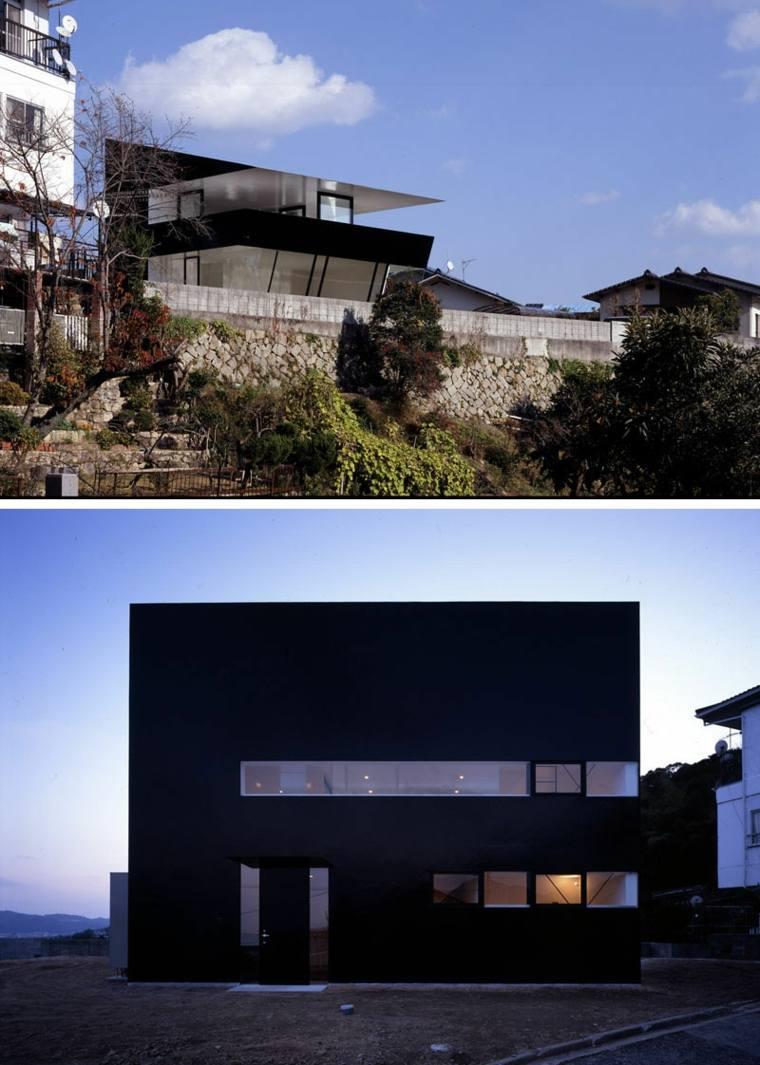 casa moderna con fachada negra