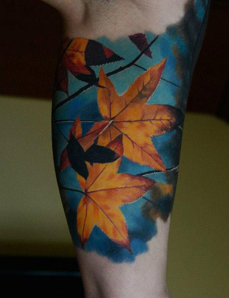 tatuaje femenino de hojas
