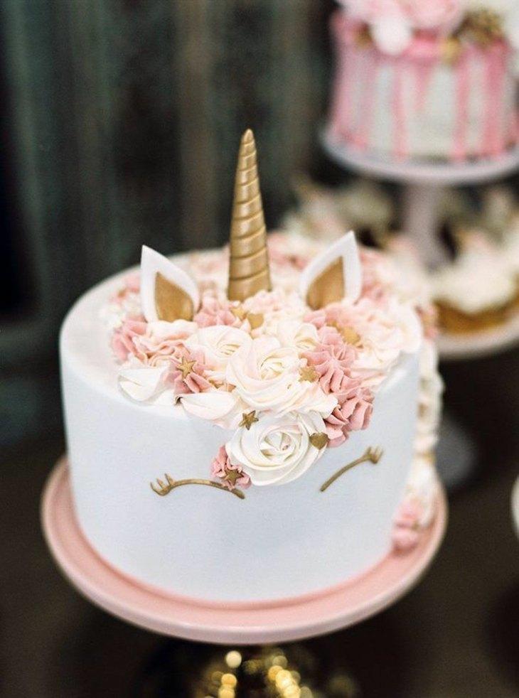 ideas unocrnio dorado tortas
