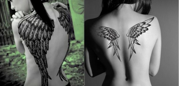 tatuaje femenino de alas