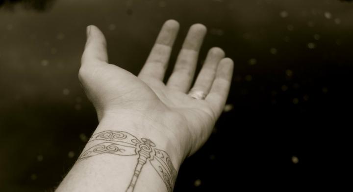 libelula tatuada manos muñecas