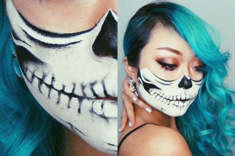 maquillaje halloween mujer peluca
