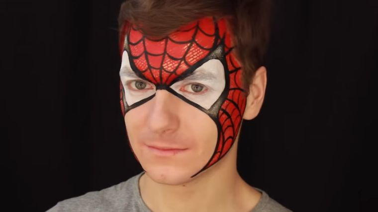 maquillaje-hombre-halloween-facil-spiderman-idea