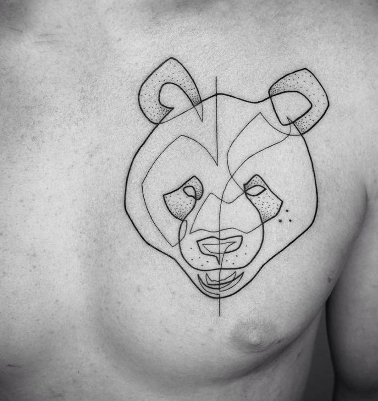 motivo imagen oso panda pecho hombre