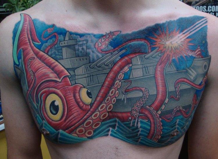 motivo tatuaje pescados colores