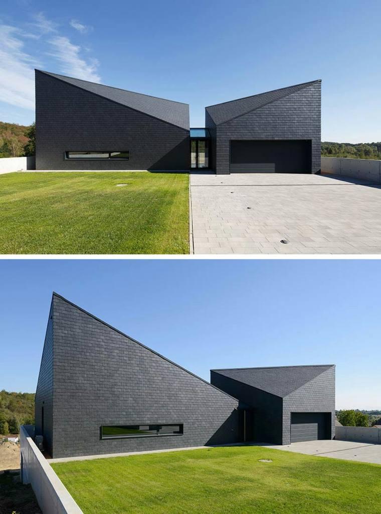 diseño de casa moderna con fachada negra