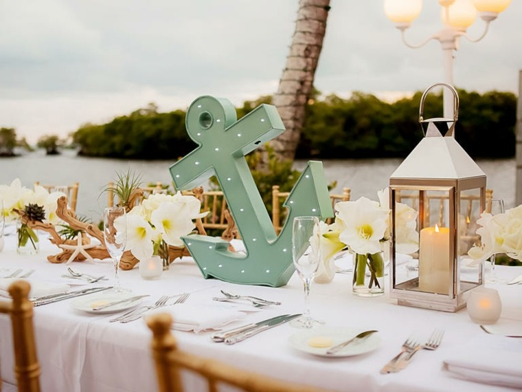decoración de boda náutica