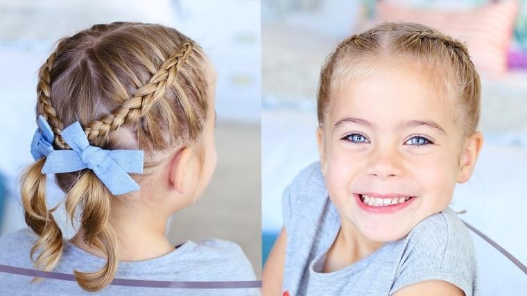peinados para niñas-ideas-lazo-azul