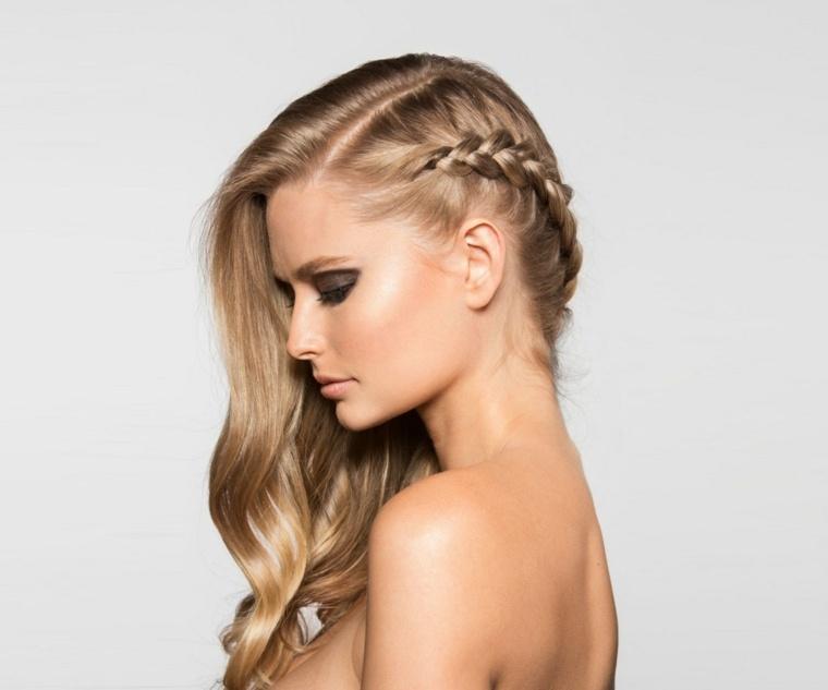peinados pelo largo trenza lado - Peinados Largos