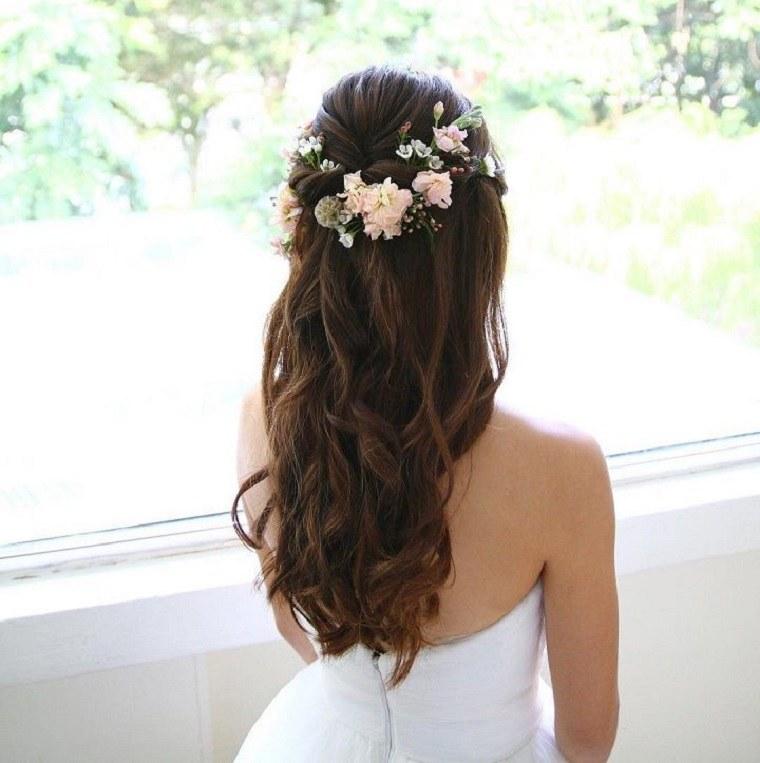 pelo suelto rosas oscuro largo