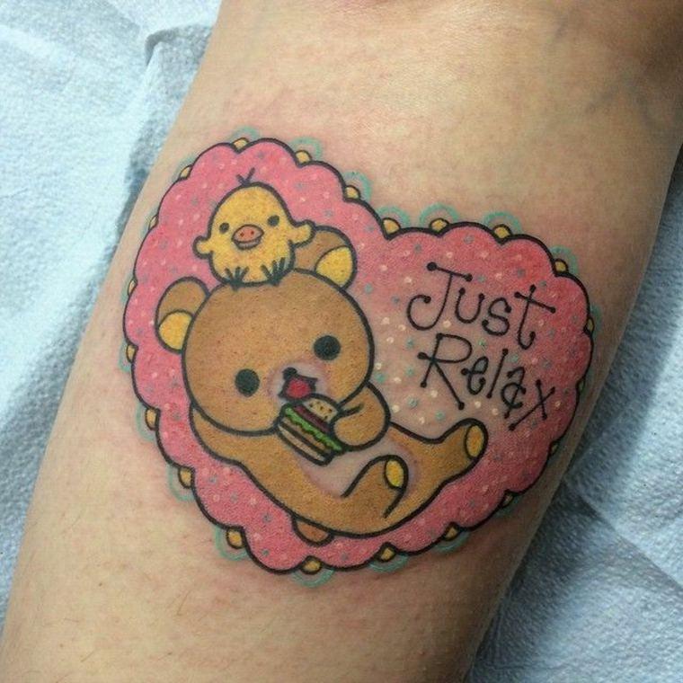 tatuaje kawaii con osito