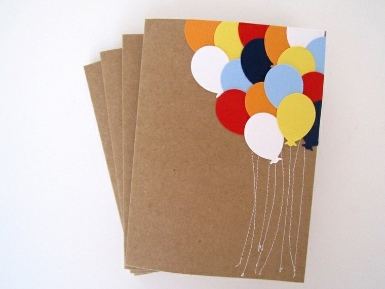 tarjeta Diy con globos