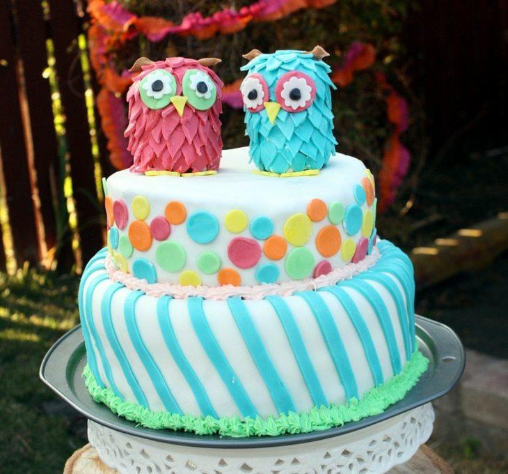 tartas de cumpleaños buhos concepto