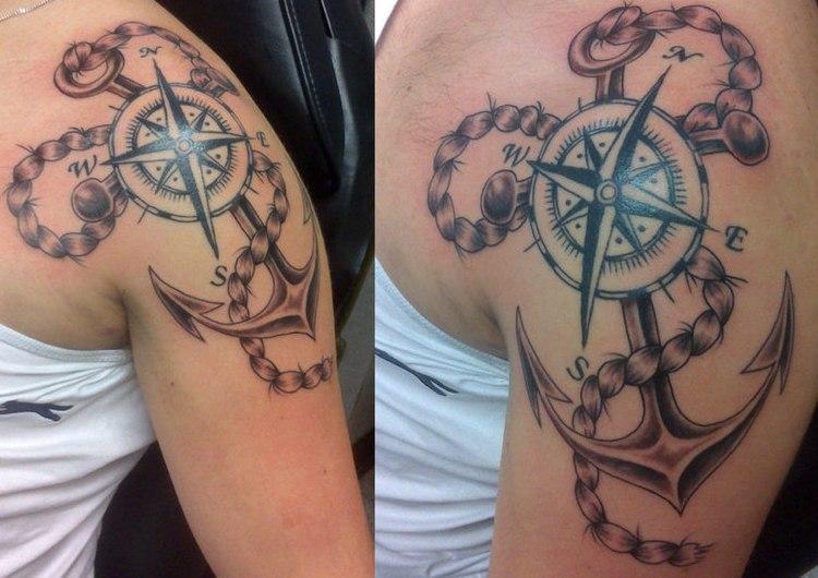 tatuaje nudo compas negro blanco