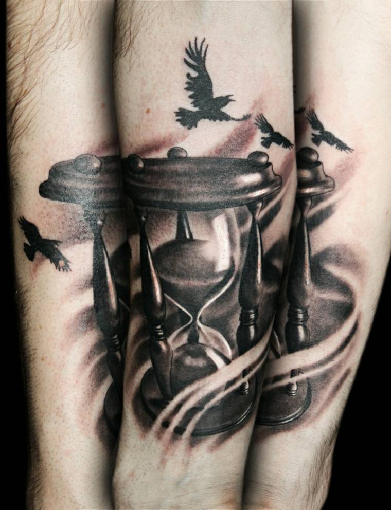 tatuaje reloj de arena original
