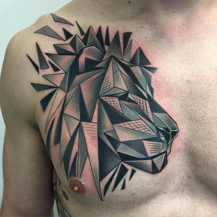 tatuaje tipo grafico blanco negro leon