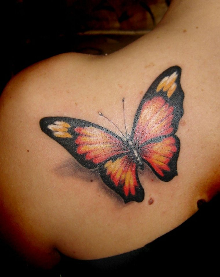 Tatuajes con mariposas de colores para las mujeres - Mariposas en la pared ...