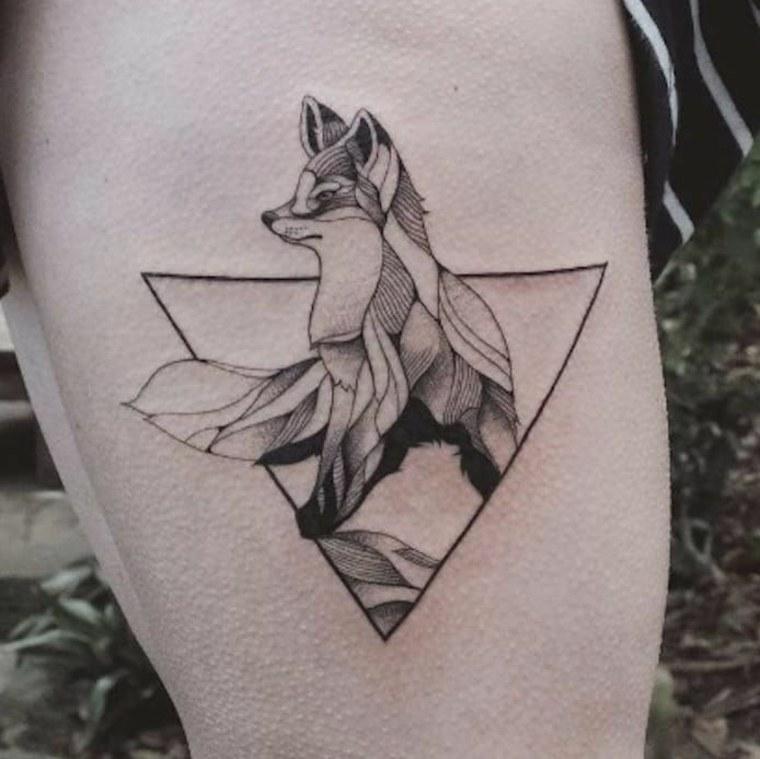 tatuaje de zorro geométrico