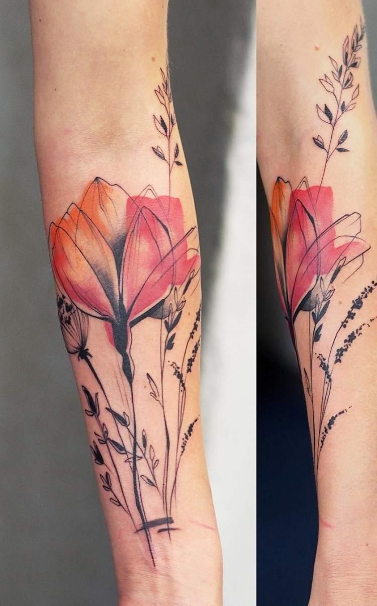 tatuajes-de-flores-mano-opciones-color-rojo-acuarela