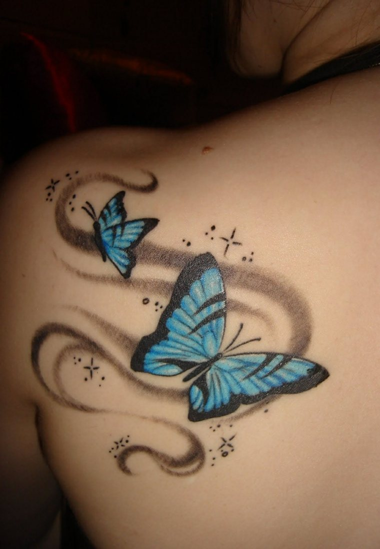 tatuajes de mariposas-azul-dos