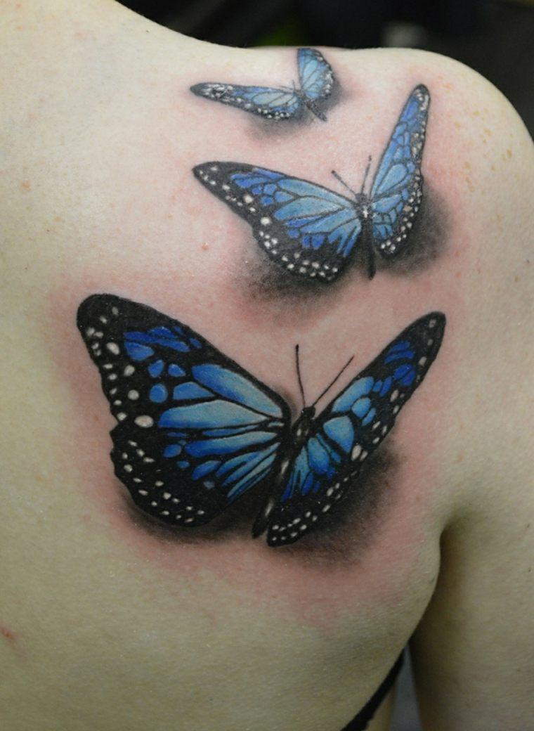 tatuajes de mariposas-azul-tres-bellas