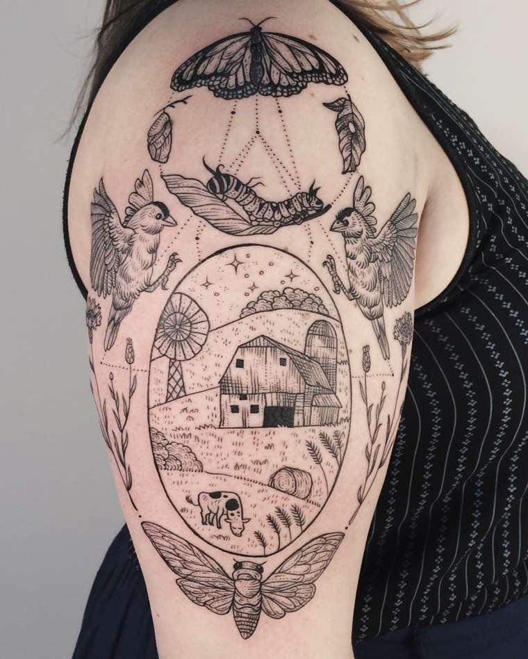 tatuajes de mariposas-complejos-grandes-hombro