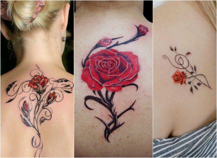 tatuajes de rosas-estilo-diseno-moderno-rojo-negro