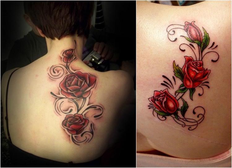 tatuajes de rosas-estilo-diseno-moderno-rojo