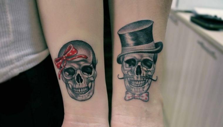 tatuajes para parejas-calaveras-estilo-moderno