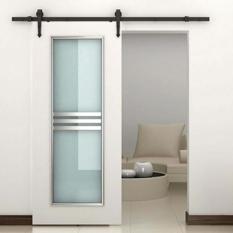 puerta corredera de color blanco con panel de vidrio
