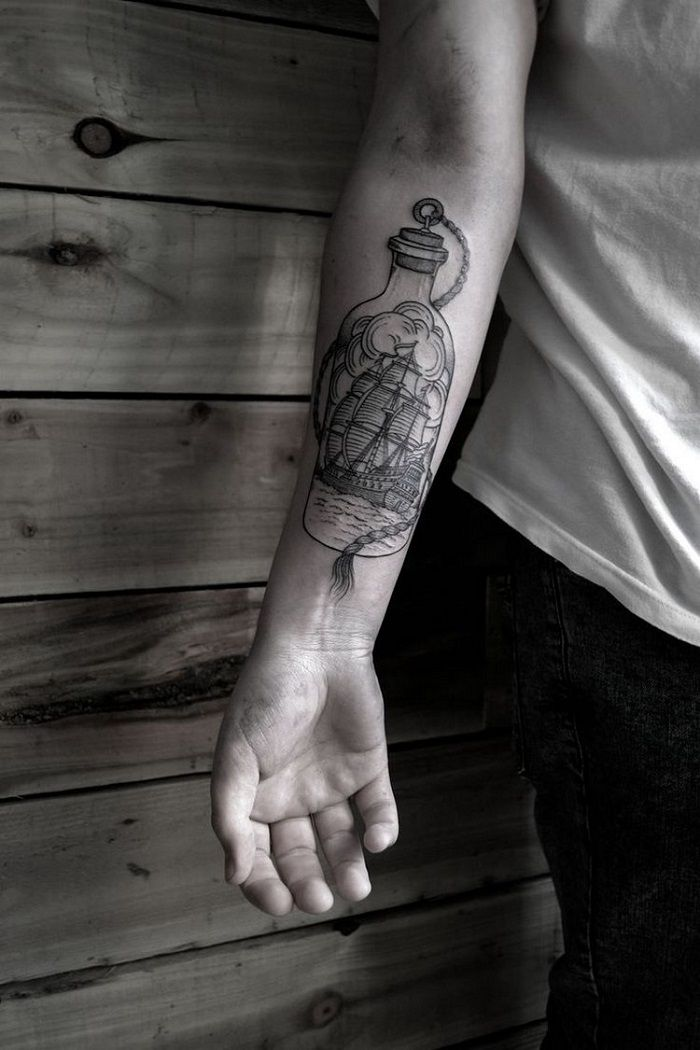botella mensajes ideas tatuajes masculinos