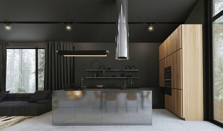 cocinas con isla-diseno-combinacion-metal-madera