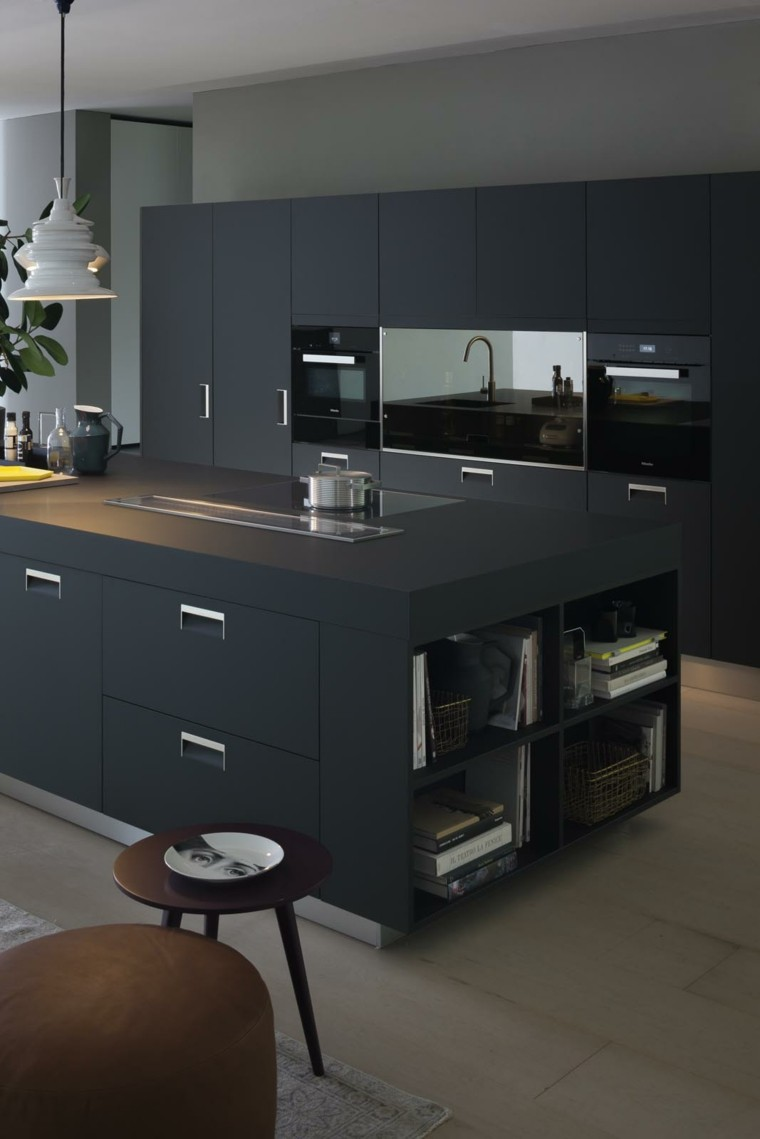 Cocinas con isla ideas para a adir este elemento en for Elemento de cocina negro