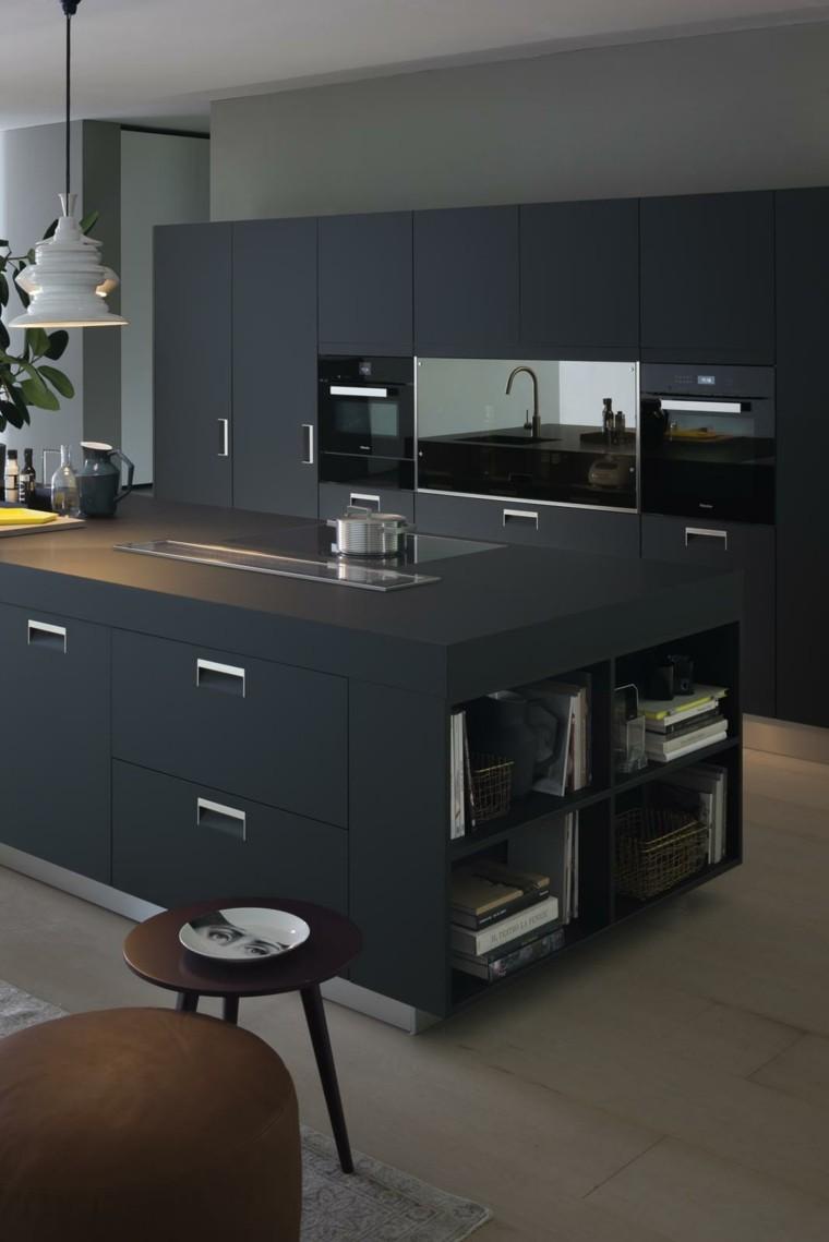cocina-con-isla-diseno-muebles-color-negro-mate