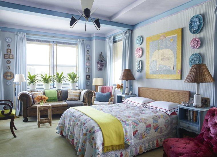 color azul-diseno-apartamento-dormitorio