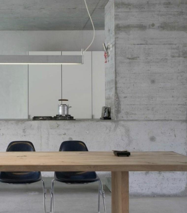 cocina con paredes de hormigón