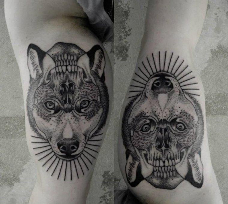 diseno-espectacular-tatuaje-lobo-calavera