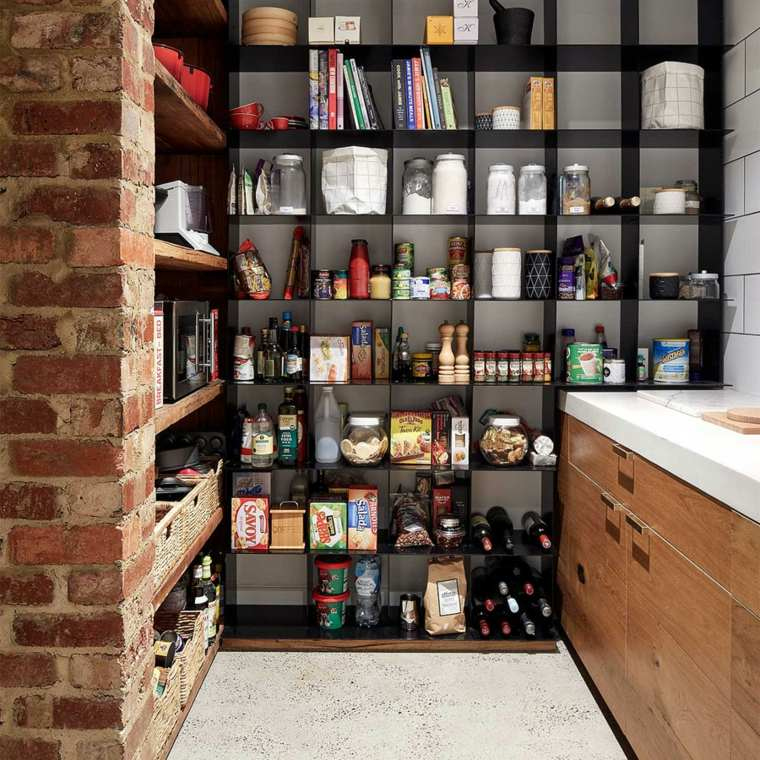 estantes cona ladrillos modernos