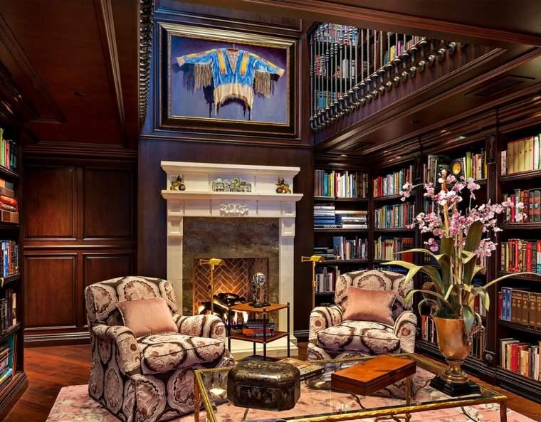 bonitos interiores con chimenea