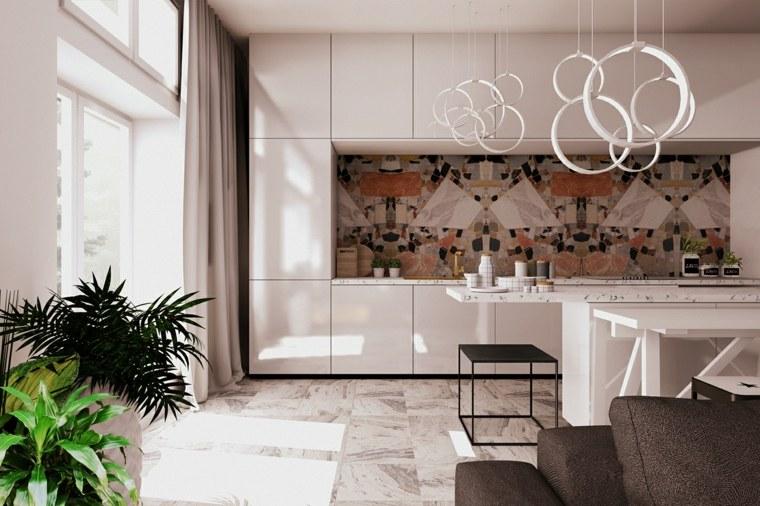 fotos de cocinas plano-abierto-muebles-blancos-salpicadero-bello