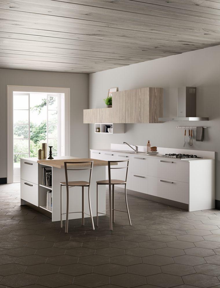 fotos de cocinas plano-abierto-muebles-blancos