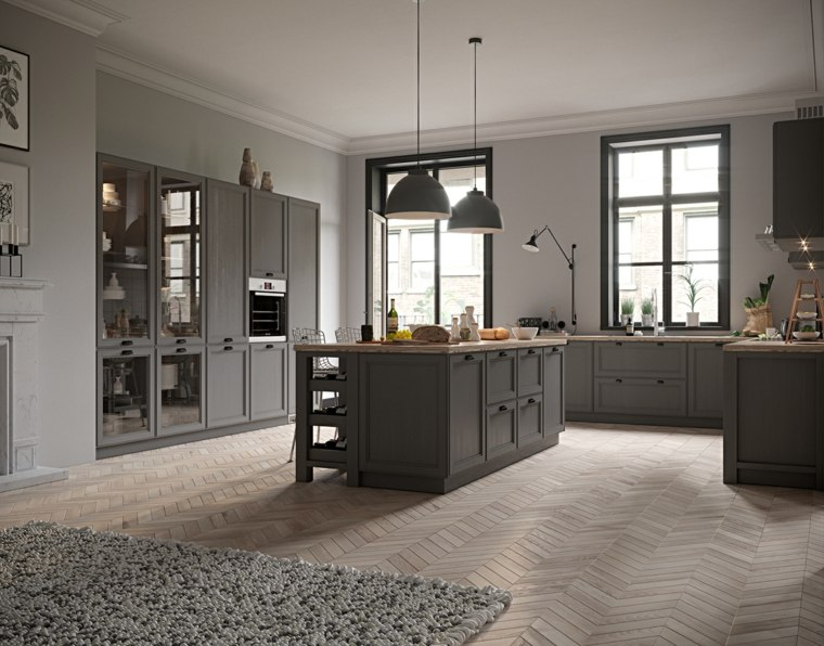 fotos de cocina-plano-abierto-muebles-color-gris