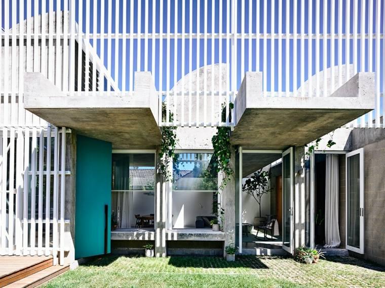fachada de cemento y aluminio