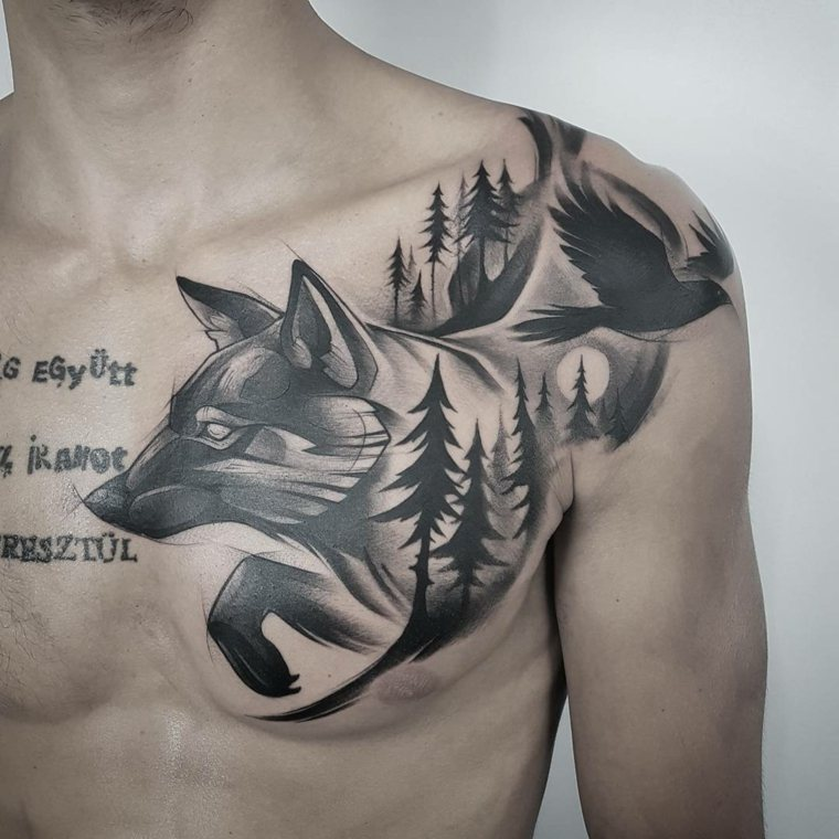 lobo-pajaro-bosque-tatuaje-elaborado-diseno