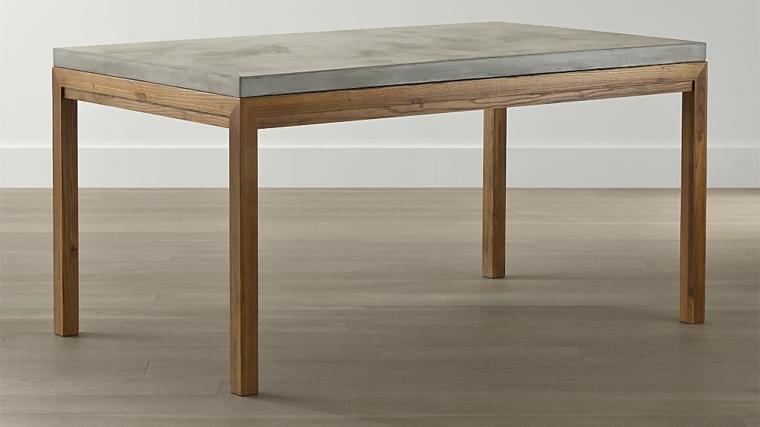 mesa de madera con tapa de cemento