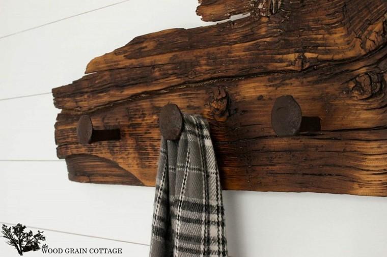 perchero Diy de madera natural