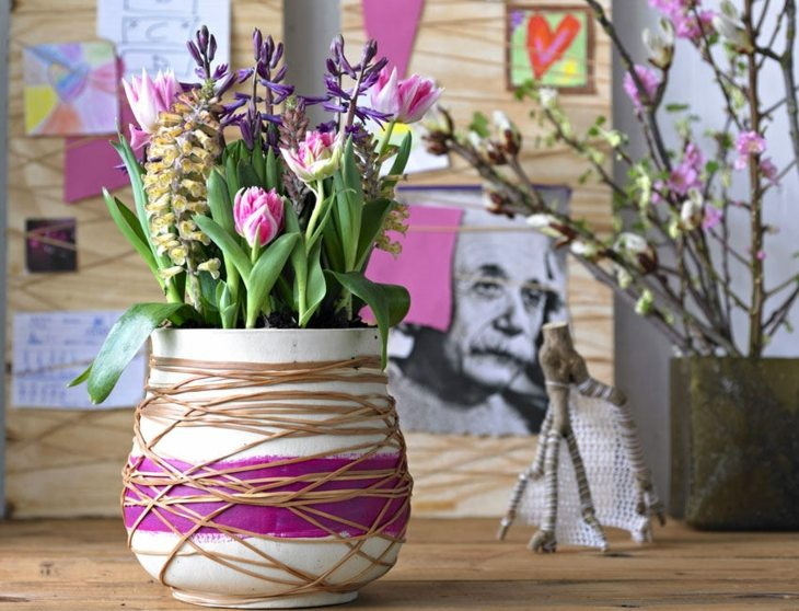 ramas combinadas flores coloridas