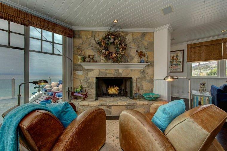 diseño de salón elegante con chimenea