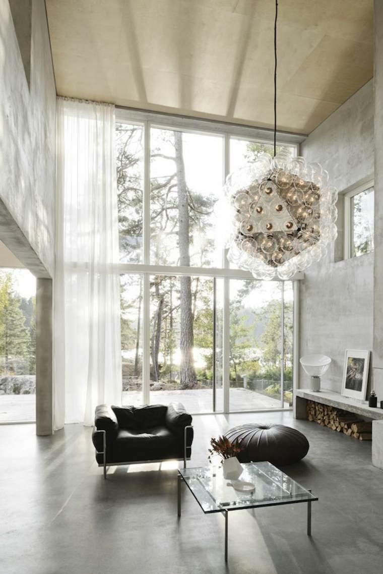 interior moderno con suelo de hormigón pulido